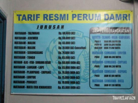 Tarif Resmi Damri Mataram