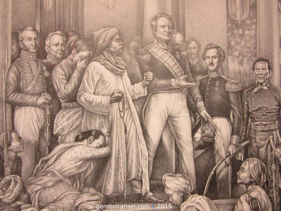 Sosok Cleerens (yang dilingkari) dalam sketsa Guntur Triyadi