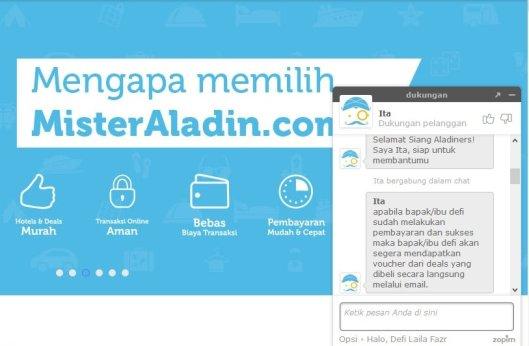 Menghubungi customer service melalui fasilitas livechat
