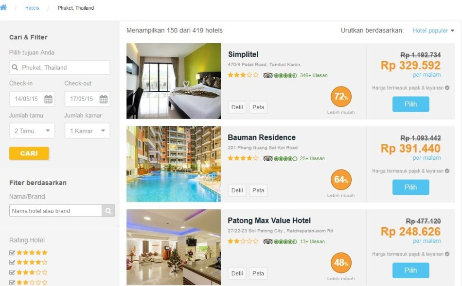 Hasil pencarian dan filter terhadap 419 hotel. Perhatikan bubble orangenya!