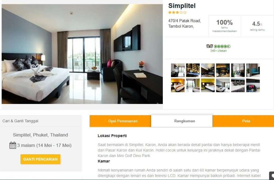 Informasi singkat tentang fasilitas dan peta lokasi hotel