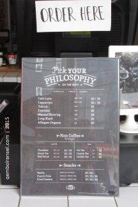 Daftar menu kedai Filosofi Kopi